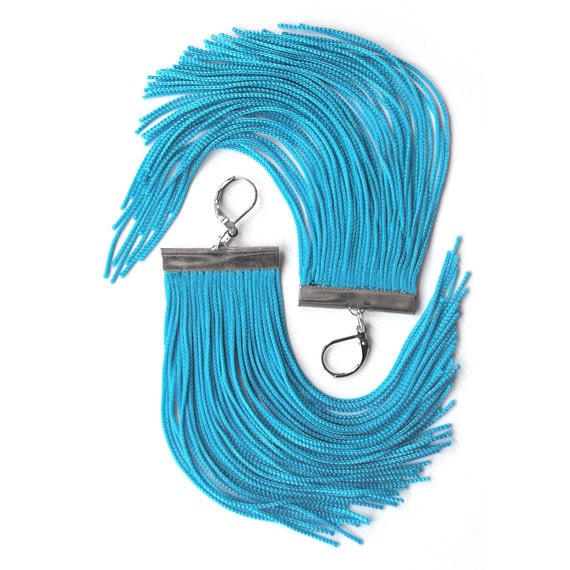 Turquoise Short Fringe Earrings