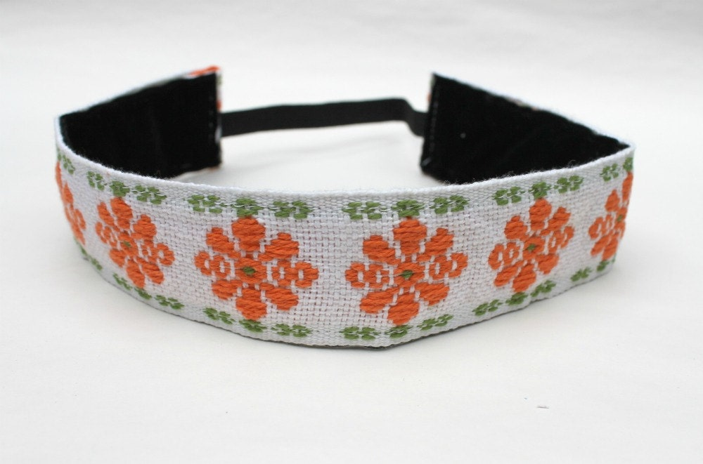 Headband, Non Slip, Boho Style, Vintage Woven Ribbon Trim, Medium Width - DeMossDesigns