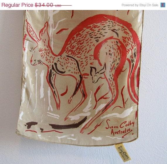 Signed Silk Scarf  KANGAROO  Australian Outback  vintage Vintage Silk Scarves Australia
