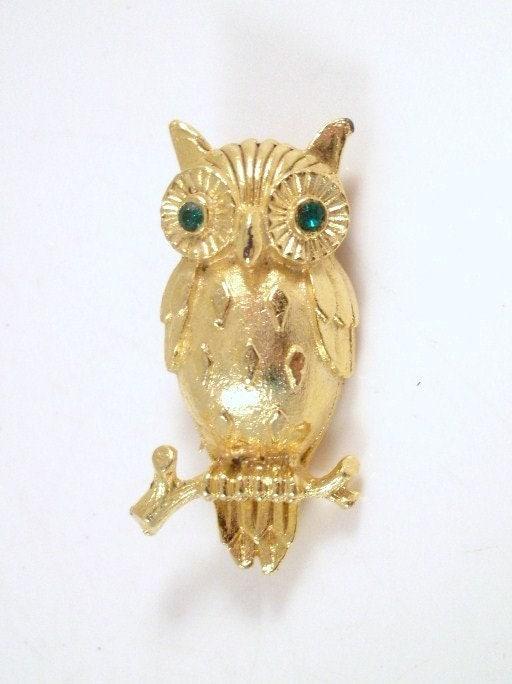 Vintage Goldtone Diamond Belly Owl Brooch