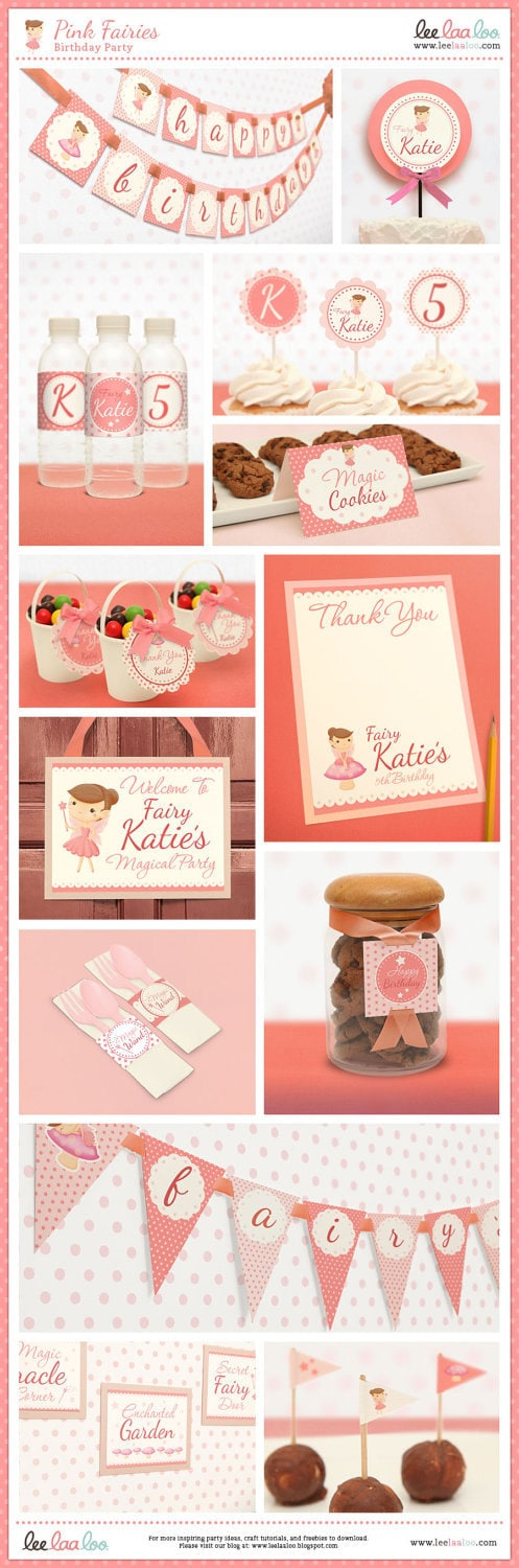 Pink Fairy Birthday Party Package Personalized FULL Collection Set - PRINTABLE DIY - BX22x