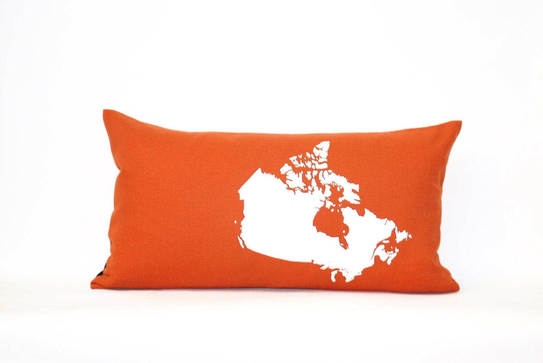 Map of Canada Pillow Cover in Orange - NicoleTarasick