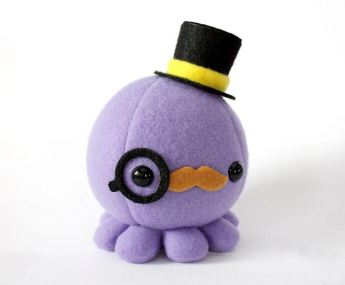 Moustache Octopus Plush w/ Top Hat and Monocle - Choose Colors - cheekandstitch