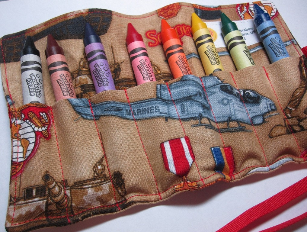 USMC Crayon Roll - Large Washable 8 Crayon Roll - Crayola - Robert Kaufman - United We Stand Fabric - US Marines - Licensed Hobbyist