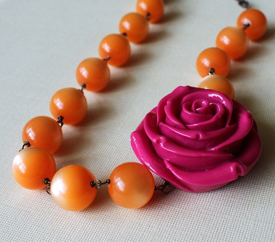 Orange Statement Necklace Tangerine Lucite Fuchsia Hot Pink Carved Rose,Tropical Punch - michabella