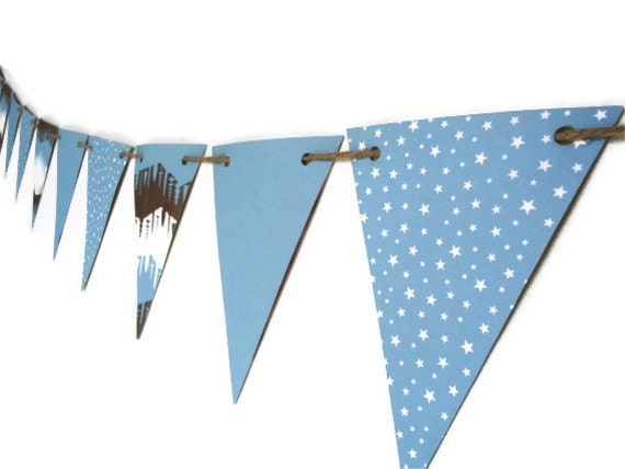 Blue Star Banner, Camping Bunting Banner, Outdoor Party Streamer, Doublesided Triangle Decor, Man Cave Decoration, Men's Photo Prop - LoveStar1
