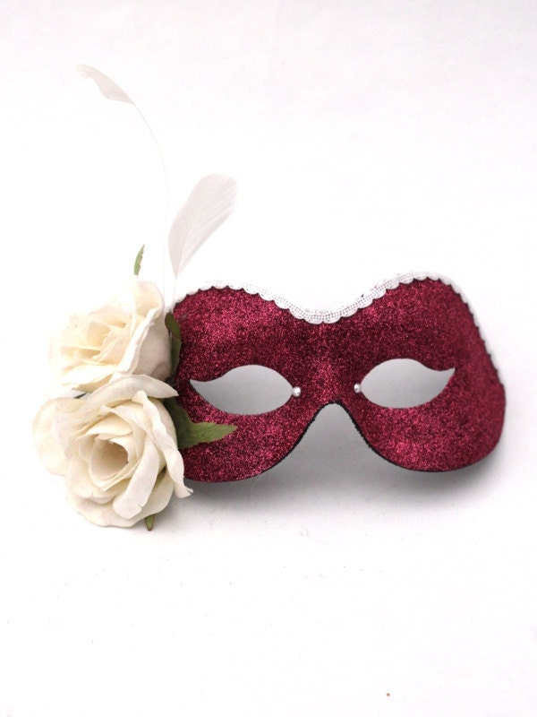 Pink & Cream 'Romantic Rose'  Masquerade Mask - masqueboutique