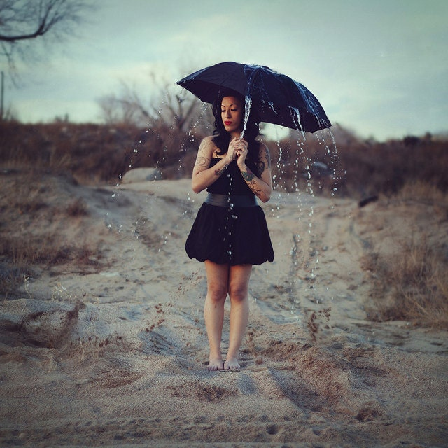 Surreal portrait - Girl with umbrella and rain 10x10 print - erikakvictor