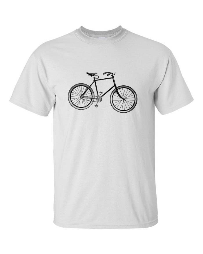 Mens Bicycle Tee Shirt White S M L - SamsaraPrints