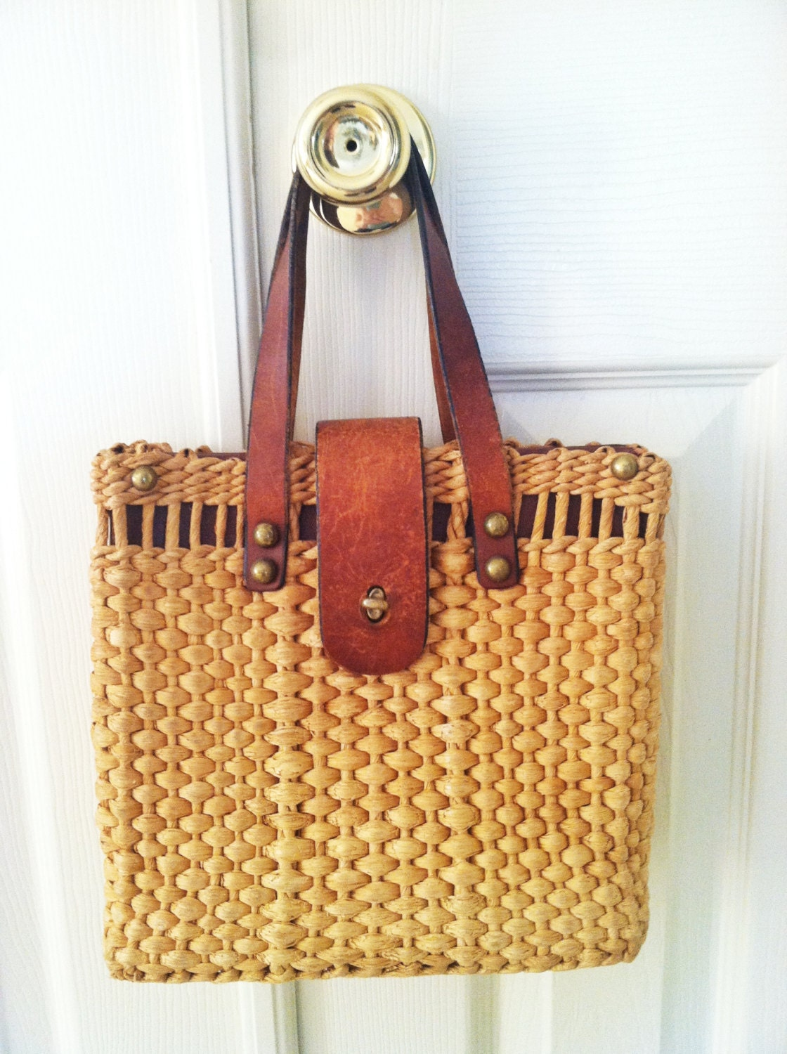 Vintage Straw and Leather Basket Bag - MonkeyBunnyandGoose