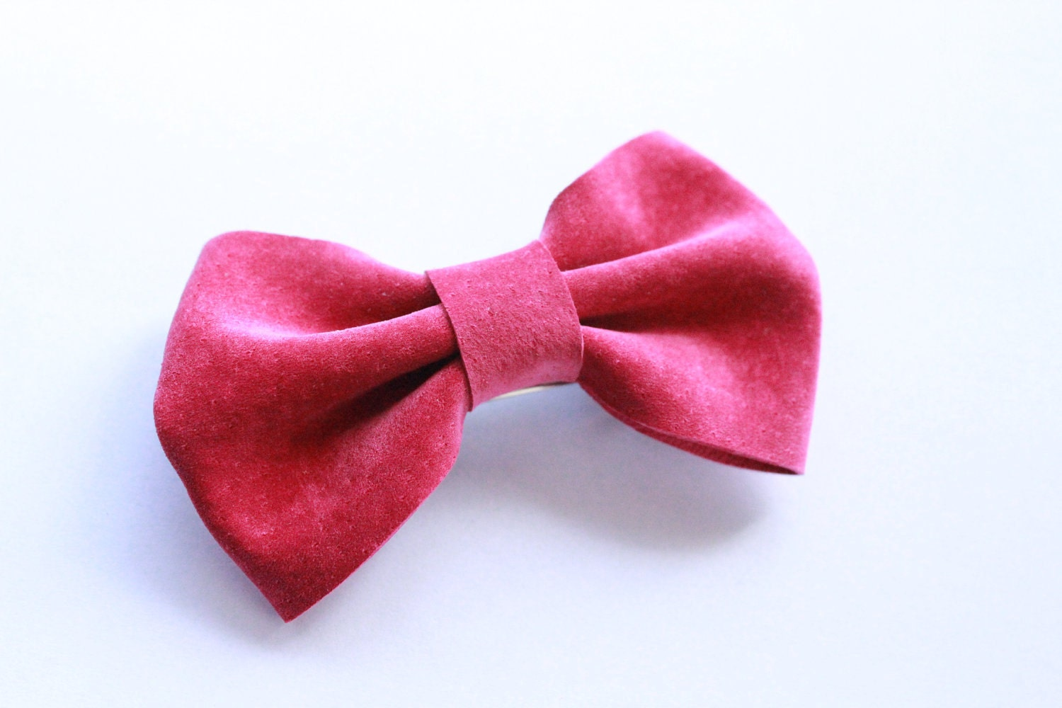 pink suede leather bow barrette hair clip
