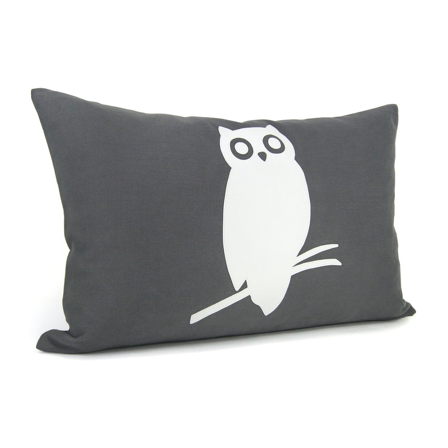 Owl pillow case White and dark grey owl pillow by ClassicByNature