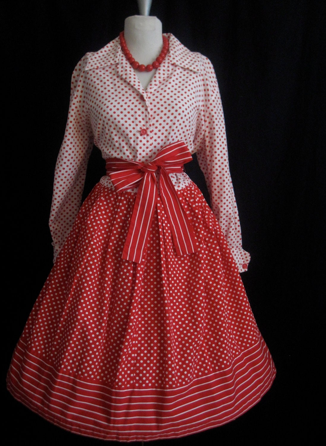 Vintage 1950's Cherry Polkadot and Stripes  MadMen Rockabilly Swing Christmas Party Dress Full figure Free shipping