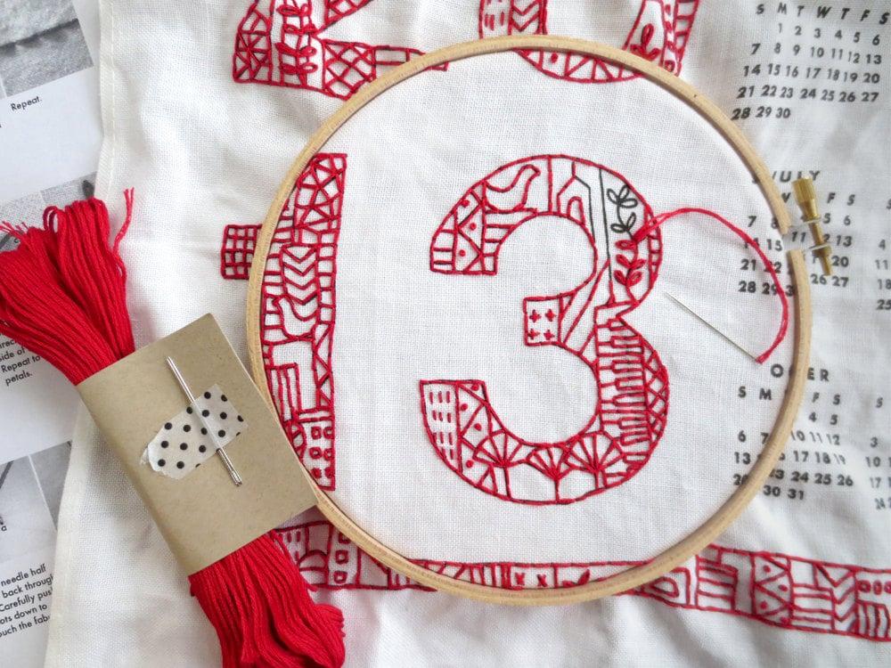 2013 Tea Towel Calendar DIY Embroidery Kit