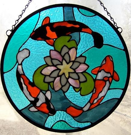 "Koi (2006) 18"" x 15""; stained glass panel."