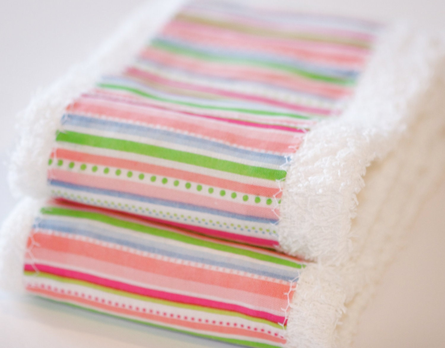 Baby Girl Washcloth /  Burp Cloth Gift Set Stylish Pink, Green, and Blue Striped Washcloth/Burp Cloth Set of 2 EtsyKids