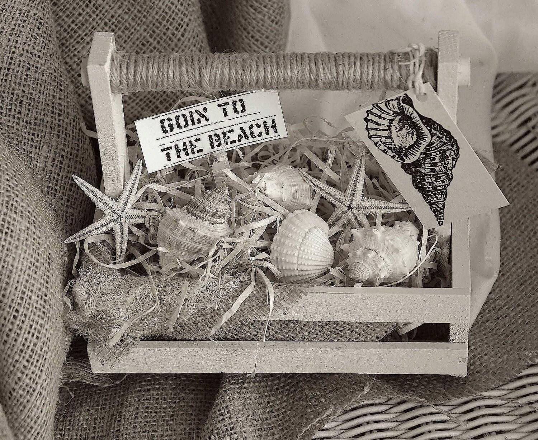 Потертый Chic Пляж Tote, пляжный коттедж Деревянный Tote, потертый шик декора, потертый шик корзину