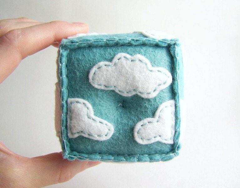 Felt Pincushion White Clouds in a Blue Sky