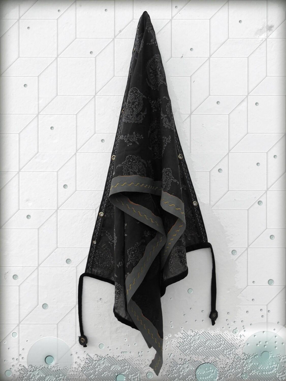 unique scarf - fiber art - black and antracite