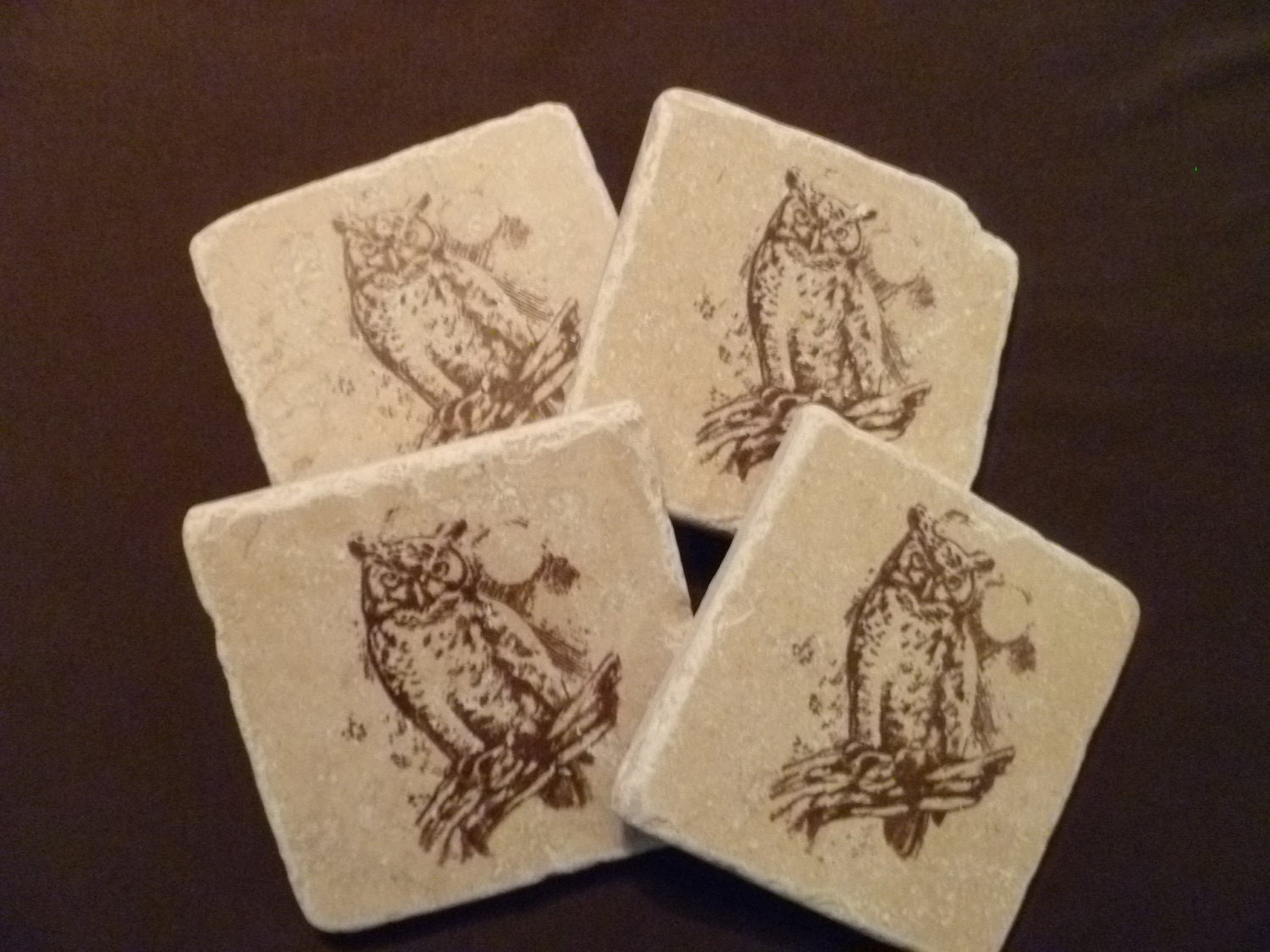 Owl Coasters Tumbled Marble Tile Hand Stamped Set of Four