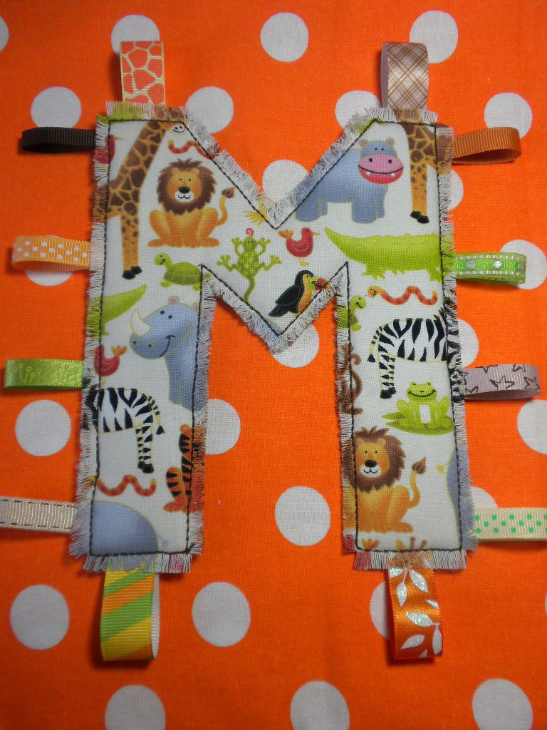 JOLLY JUNGLE ANIMALS - Monogram Tag Toy - Personalized Alphabet Toy for Your Baby Girl or Boy