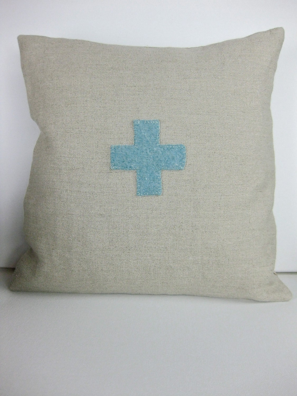 Beautiful Decorative Vintage Looking Swiss Cross Pillow - Hemp & Wool