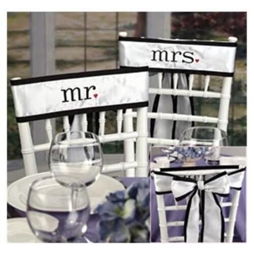 Mr. & Mrs. Wedding Chair Satin Sash Set Decoration