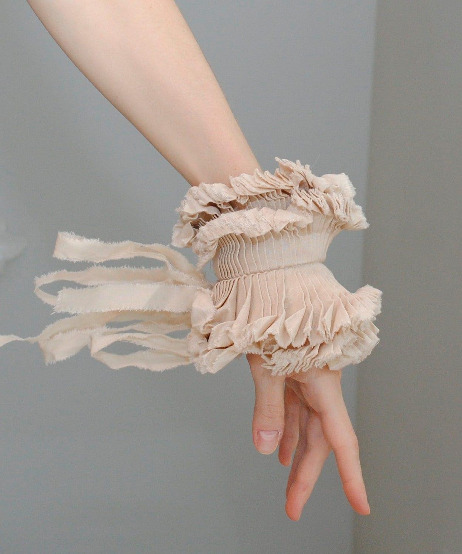 Ruffled cuff/ Stylish accessory/ Ruffle bracelet/ Hand made/ Shabby chic /Wedding/ Rustic, wrist cuff/ rusteam bioteam/ Summer under 25 - marinaasta