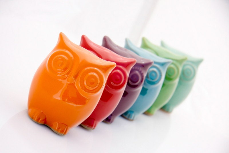 Ceramic Owl decor  - choose your color - claylicious