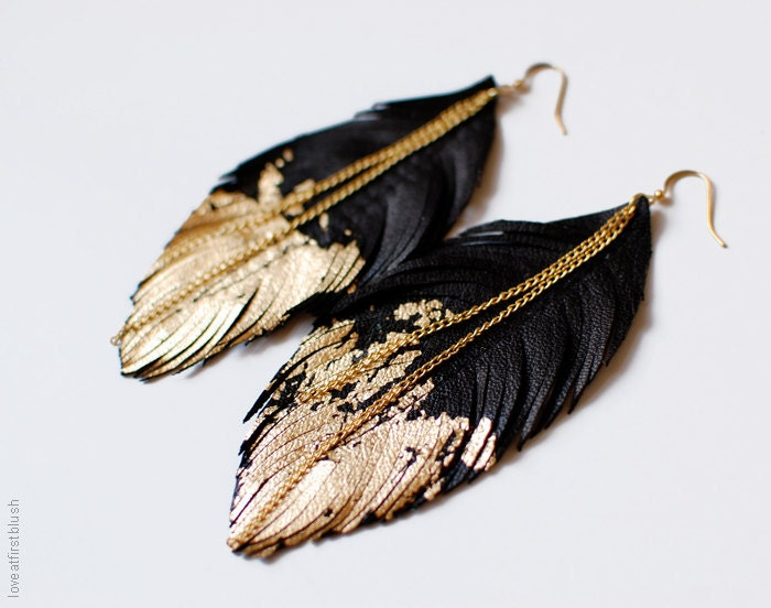 Leather Feather Earrings - Black Leather Dipped in Gold - Black Raven Feather Jewellery - LoveAtFirstBlush