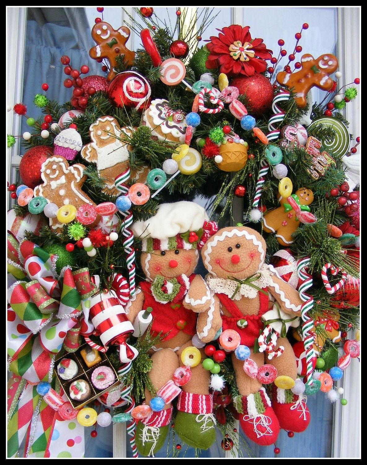 Custom Made Santa Christmas Wreath or Gingerbread Holiday Wreath of your choice with FREE US Shipping