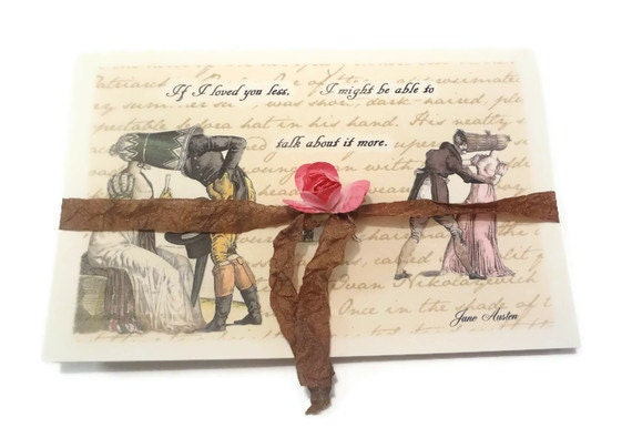 Смешные карта Любовь Цитата Джейн Остин, Regency пары, Я тебя люблю карты, пустые открытки ручной