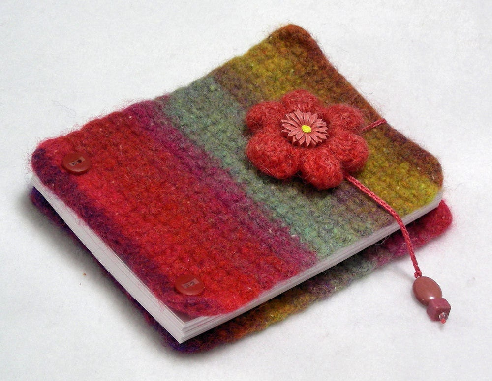 Inspiration book, post bound blank journal, felted wool covers, write - sketch - doodle - photos, pink, mint green, gold, lavender