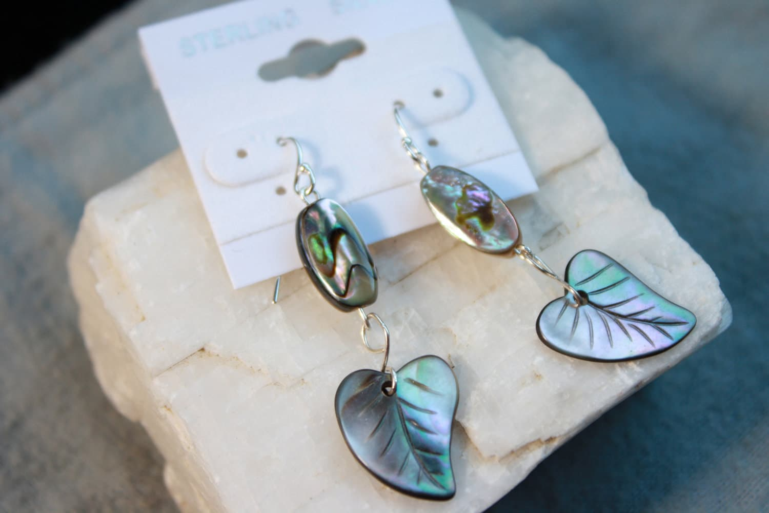 Sterling Silver French Wire and Wrap with Abalone Feather Leaf Carved Earrings Natural Ocean Shell