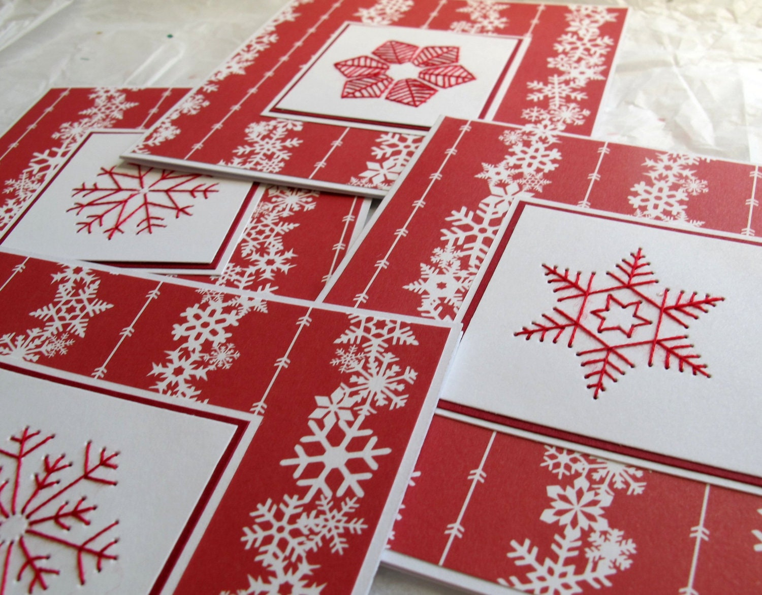 Red and White Embroidered Snowflake Card - SandrasCardShop