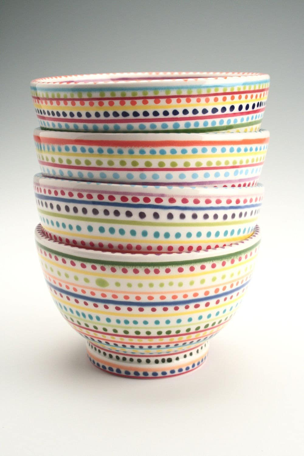 Stripes and Dots Rice Bowl Hand Painted Dinnerware - owlcreekceramics