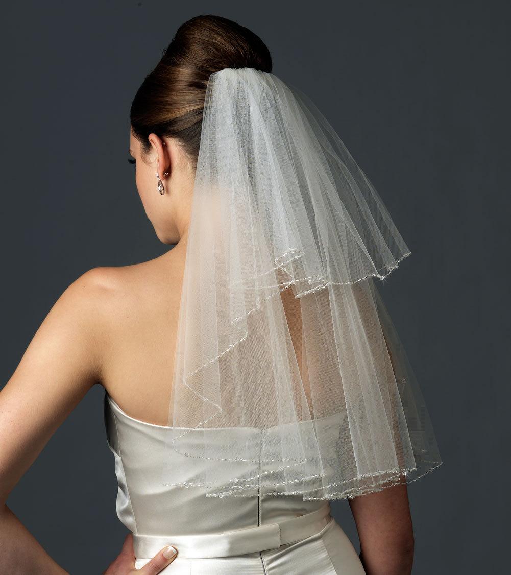 2-layer Swarovski Crystal Edge Wedding Veil