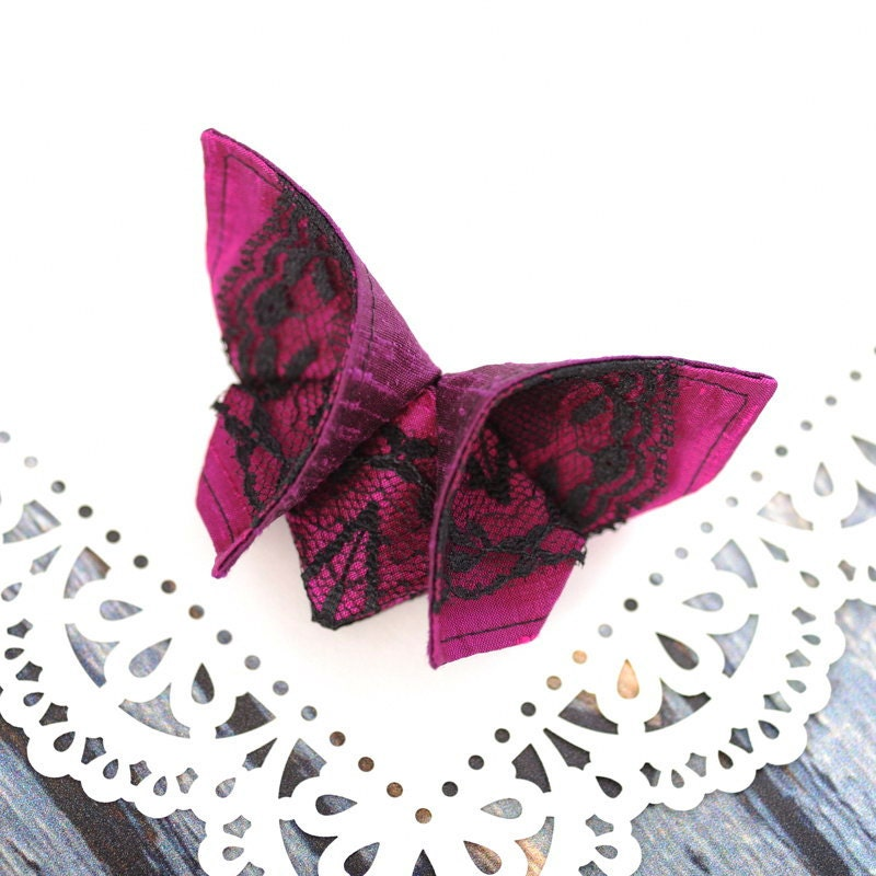 Butterfly BARRETTE Silk Origami Hair Clip Vibrant Plum and Magenta with black lace Silks Gift LARGE SIZE shown