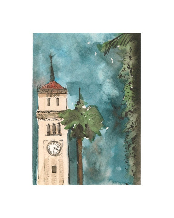 """Watercolor print: """"La Torre de la IUPI"""", by estudio arbitrario - estudioarbitrario"""