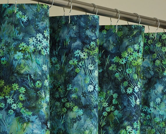 Teal, Green & Blue Batik Shower Curtain - 72 x 78 LONG - PondLilly