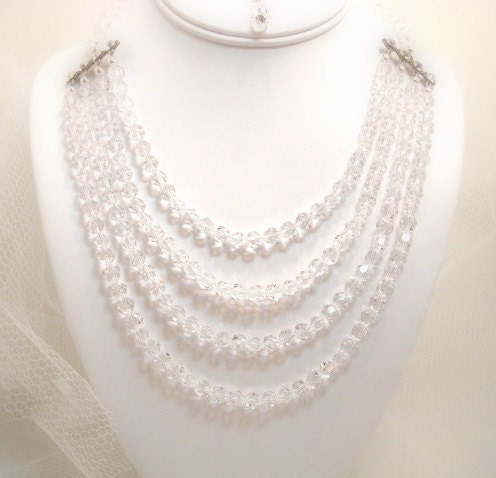 Bridal necklace Swarovski crystal necklace wedding necklace multi strand