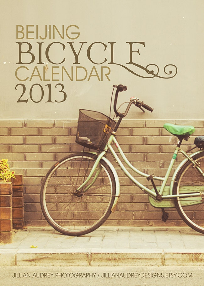 Bicycle Calendar 2013 - 5x7 photography calendar - desk calendar - 12 loose leaf sheets - bicycle photography - vintage style retro - JillianAudreyDesigns