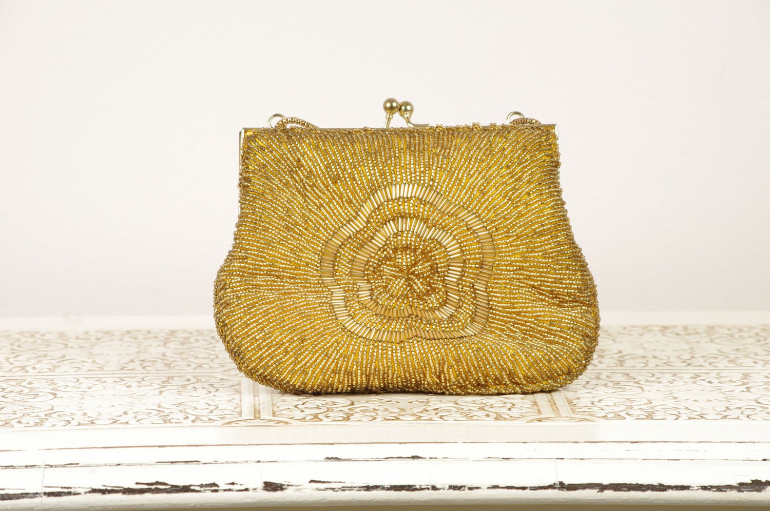Vintage Gold Evening Bag Clutch - Beaded Purse - Made in Hong Kong by La Regale - DuryeaPlaceDesigns