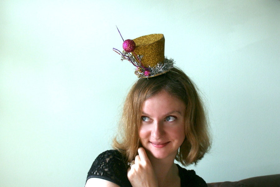 "New Years Party Hat - Mini Top Hat in ""Times Square"" - Gold Base Silver Tinsel & Pink and Silver Accents - Headband Fascinator"