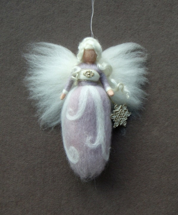Needle Felted Wool Christmas Angel Pastel purple X-MAS Ornament Faeries Fairy Doll Soft Sculpture Waldorf Inspired