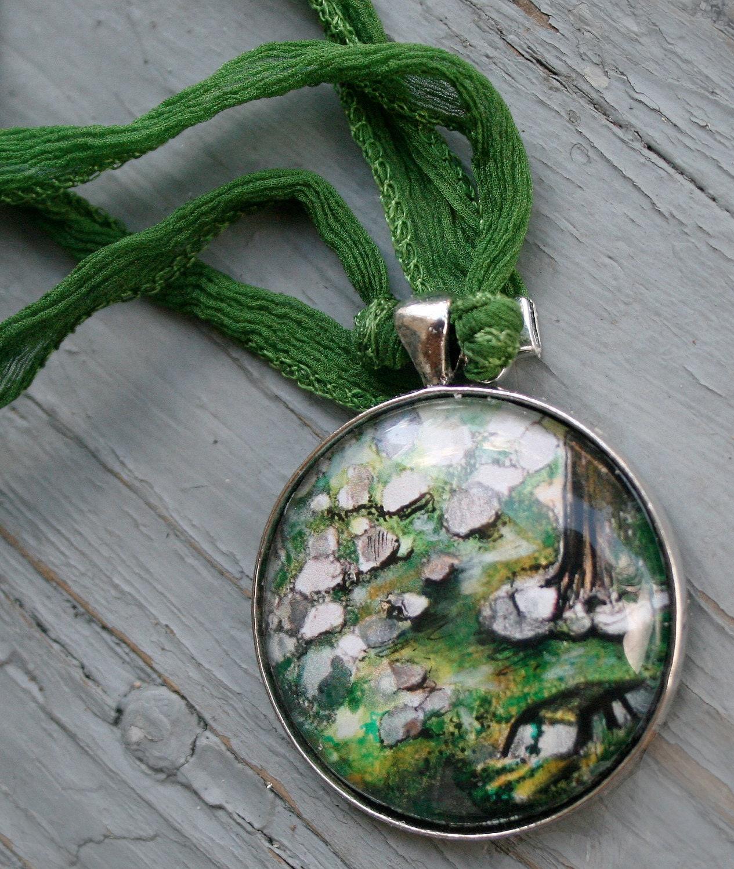 Original Art Pendant, Green Fairy Ribbon, Old Car in the Woods