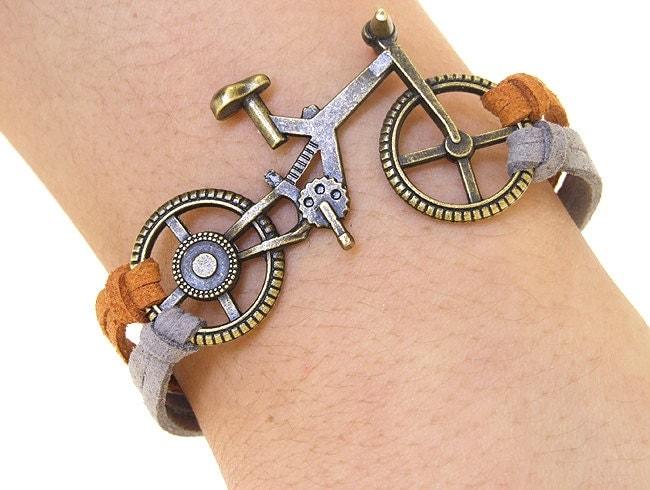 Bike bracelet, Bicycle Bracelet, Charm Bracelet,Bronze bracelet,Adjustable Bangle Bracelet,imitation leather Bracelet - anlubeads