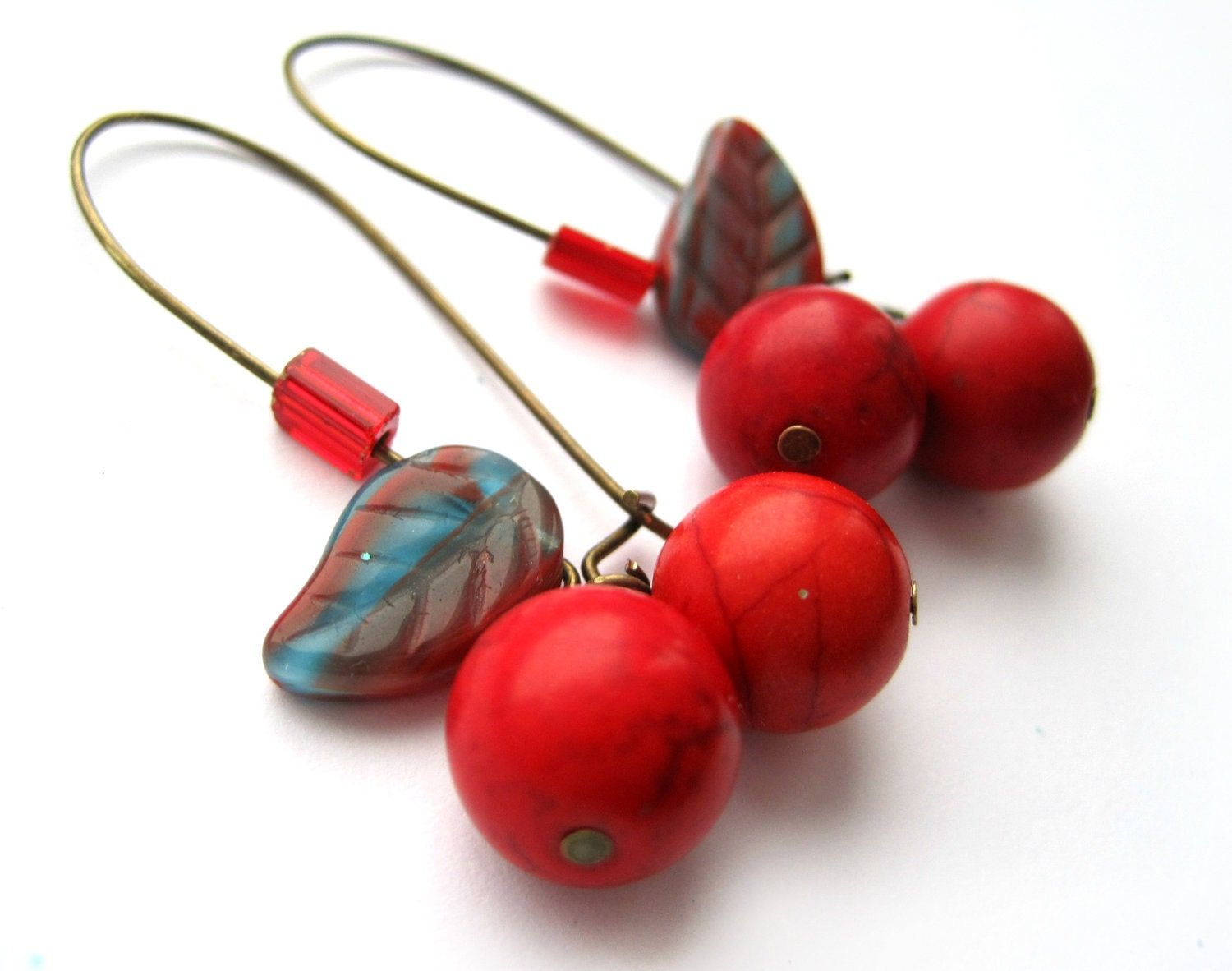 Red earrings - cherry earrings - Turquoise, stone - Leaf, nature, woodland - Summer earrings - blue and red