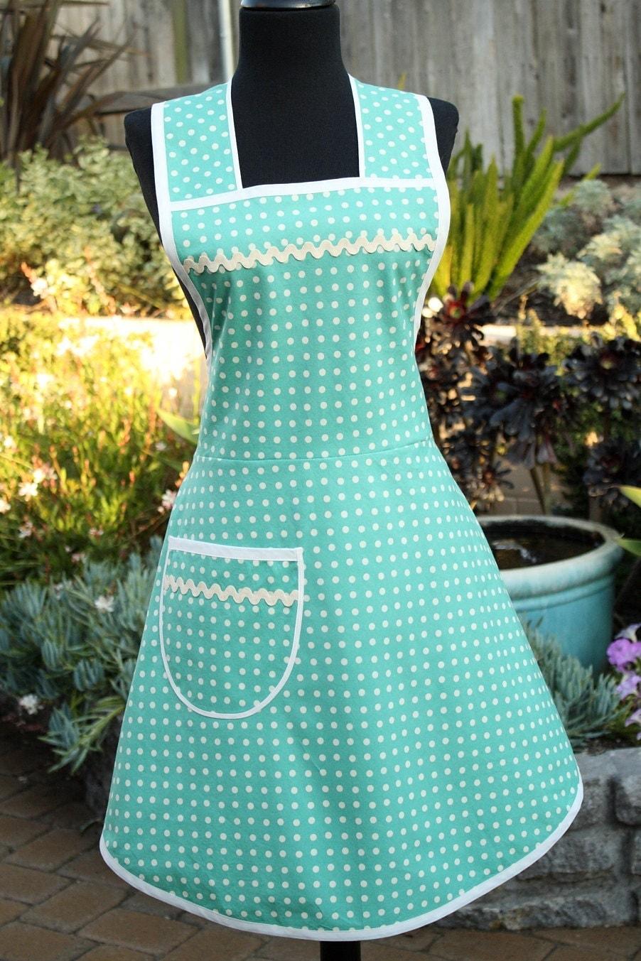 Teal Pinafore Retro Full Apron Vintage Style Polka Dots