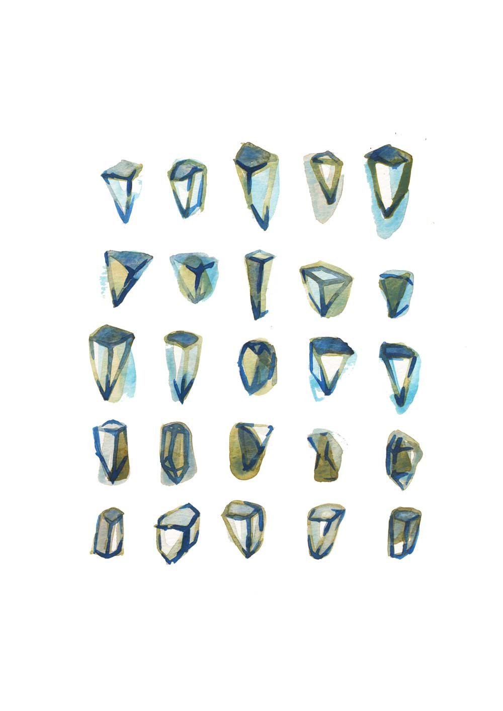 Diamonds II - Art print - collection of geometrical forms - brown blue white reproduction of painting Northern light - LouiseArtStudio